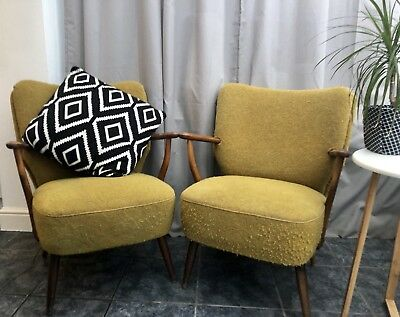 Pair Of Vintage Retro Mid Century Cocktail Lounge Chairs With Arms Mustard/Green