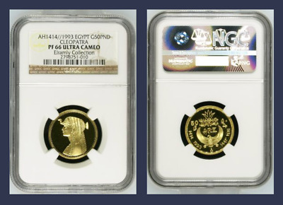 1993 Egypt, Gold Proof 50 Pounds, Cleopatra, Ngc Pf 66 Ultra Cameo