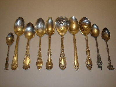 Mixed Lot of 10 Antique Silverplate Spoons No Monograms