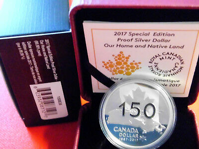 "Kanada 2017  "" Our Home and Native Land  ""  1 Dollar, 999er Silber PP, OVP"