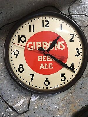 Vintage Gibbons Beer Advertising Clock ~ Convex Glass ~ Beautiful Face Works