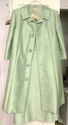 Vintage Lord & Taylor Lined Coat & Matching Unlined Dress By Abe Schrader Mint G