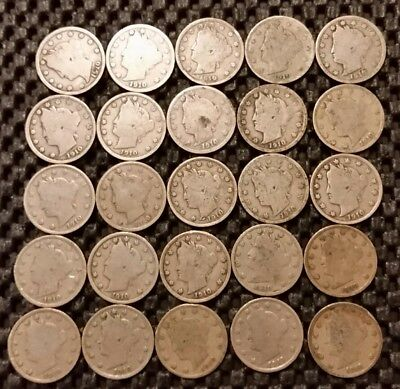"25, Liberty Head ""V"" Nickels Lot! All 1910!"