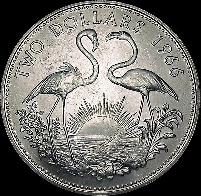1966 Bahamas Two Dollars Uncirculated .925 Sterling Silver Coin Flamingos