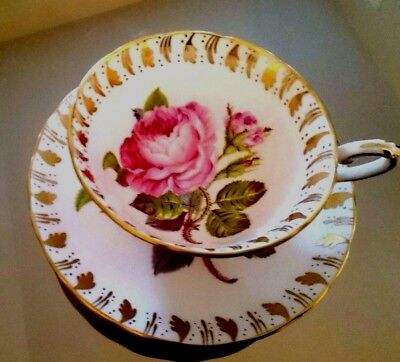 Royal Chelsea Large Cabbage Rose & Gold Cup And Saucer  Mint Condition !!