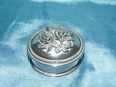 Beautiful Silver Plated Trinket Box High Relief Cast & Chased Roses Velvet Lined