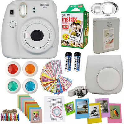 Fujifilm Mini 9 Instant Camera  Smokey White + 20 Film All in One Acc Bundle