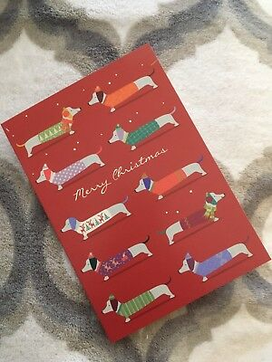 NEW Box Of 8 Dachshund Merry Christmas Cards Doxie Dog Red Large Blank Inside