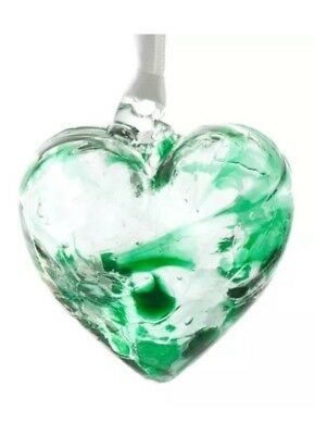 Milford Collection Hand Made Glass May Emerald Birthstone Heart Hand Made