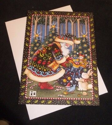 Mary Engelbreit Santa giving gifts to rabbit and bird Christmas card w/envelope