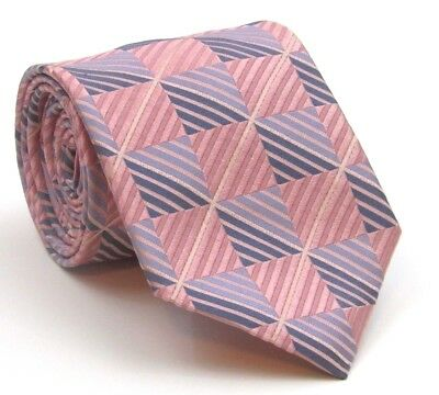 """Ted Baker Tie Mens Silk Tie Pink and Blue Squares Pattern - 58"""" Long 3.75"""" Wide"""