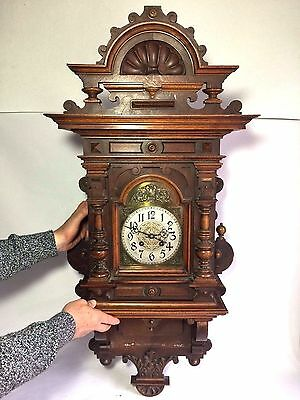 Antique Victorian German Lenzkirch Handmade Wall Clock - Stunning Detail