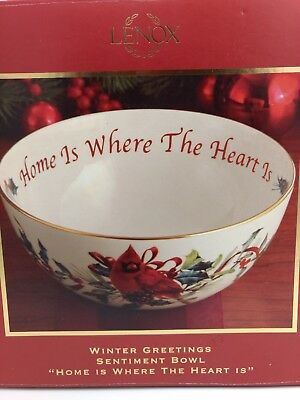 """Lenox Winter Greetings Sentiment Bowl """"Home Is Where The Heart Is"""""""