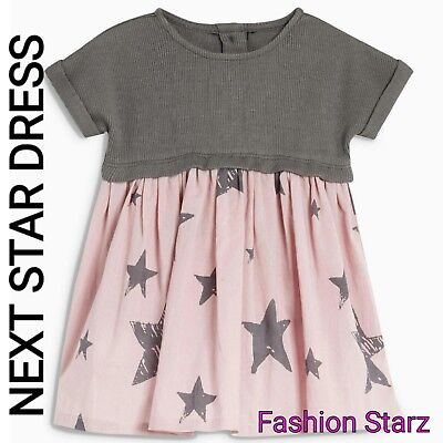 NEXT Baby Girl 3-6 months Cotton lilac/grey Star print Dress Outfit NEW BNWT