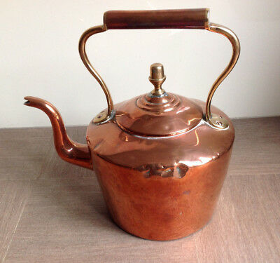 Victorian Swan Neck Copper Kettle with Brass Handle