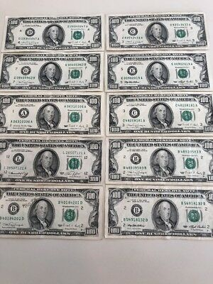 Lot of 10 Old Style Circulated $100 Bills