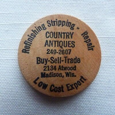 Madison Wisconsin Country Antiques wooden nickel - WI