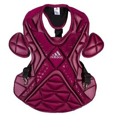 (43cm , Maroon/Silver) - adidas Performance PRO Series Baseball Chest Protector