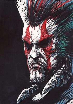 2000Ad Slaine Portrait Original Hand Drawn Art Clint Langley