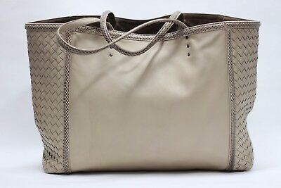 05ebd23cb Bottega Veneta Nappa Ayers Tote Bag Sand Tan Intrecciato Panels Lamb Leather