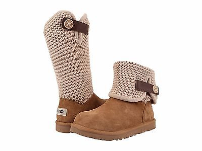 Women's Shoes UGG Shaina Suede & Knit Cuff Boots 1012534 Chestnut *New*