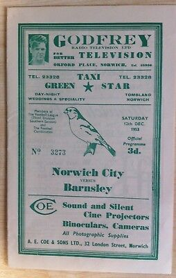Norwich City v Barnsley - FA Cup 2nd Round - 12th December 1953