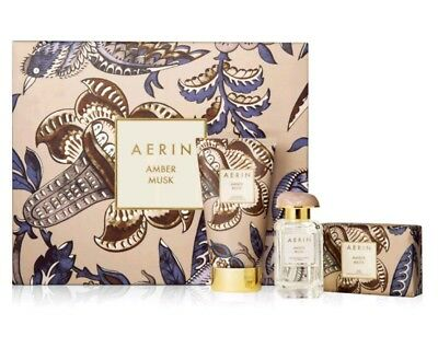 NEW IN BOX AERIN WOMENS AMBER MUSK FRAGRANCE GIFT SET 1.7 EDP, 5 OZ Cream & Soap