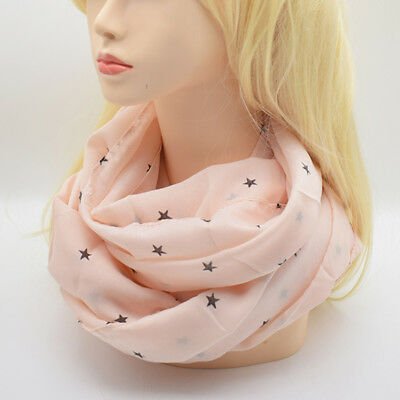 Voile Star Print Thin Infinity Circle Loop Scarf Lightweight Pink Shawl Wrap