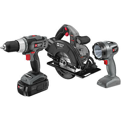 Porter Cable 18 Volt Ni-Cad 3-Piece Tool Combo Kit Drill Saw