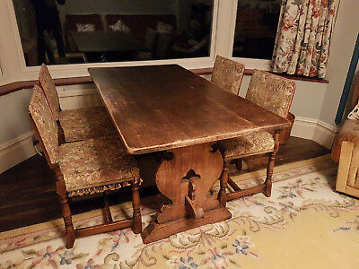 Antique oak refectory dining table and 6 chairs - PICKUP ONLY
