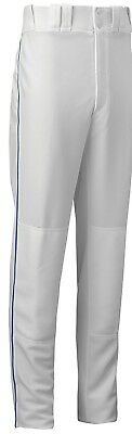 (Small, White/Royal) - Mizuno Youth Full Length Select Piped Baseball Pant