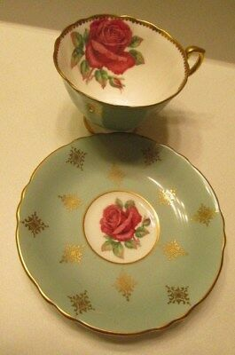 Paragon Red Rose Cup Saucer Fine Bone China England Gold Trim