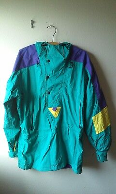 Vintage NORTH FACE Purple, Yellow & Teal Green Rain/Activewear Jacket Men's Sz M