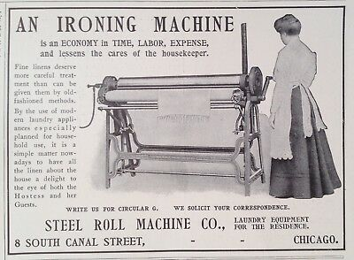 1905 Ad(G8)~Steel Roll Machine Co. Chicago. Ironing Machine For The Housekeeper