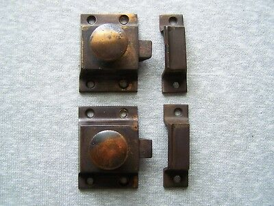 """Lot Of 2 Vintage Copper Flash Japanned 2 1/4"""" Cupboard Door Latches Turn Knob"""
