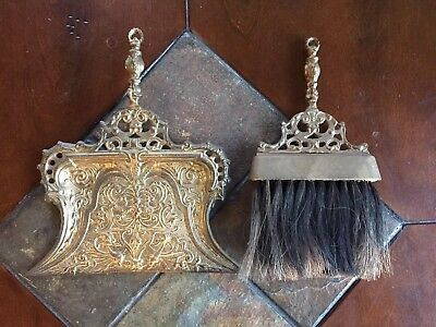 Vintage Brass Fireplace Set Ornate Broom & Dust pan Silent Butler Made in India