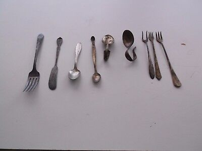 Mixed Lot Of Vintage Silverware - Tasting Forks and Baby Spoons - 9 Pieces Total