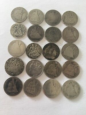 Twenty Seated Liberty Dimes Silver Coin Lot