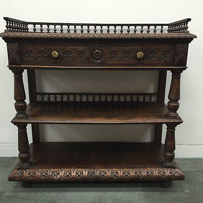 French Antique Oak Sideboard Henri II Style Carved Dessert Buffet - L065