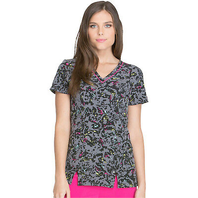 Dickies Women's Print Scrub Top DK702 GLFW Medical V-Neck Sizes 2XS to S