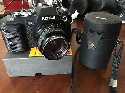 Konica FS-1 SLR 35mm Film Camera w/ Vivitar Close Focus 28mm, Konica 135 f/3.5