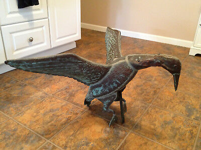 Antique Vintage FLYING GOOSE WINGS SPREAD COPPER WEATHER VANE Rare 33 x 18