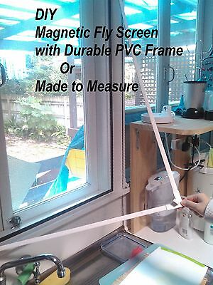 Magnetic Window Fiberglass Fly screen made to measure w/PVC Frame