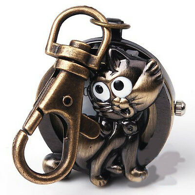 Bronze Tone Fox Cat Key Ring Quartz Pocket Watch Montre porte clés Gift