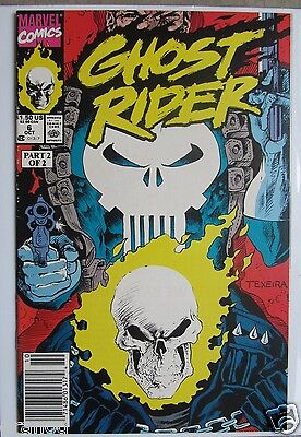 Vol. 2  #  6 1990 GHOST RIDER COMIC - TAKES ON PUNISHER part 1 of 2 VF+
