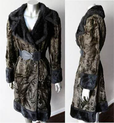 Steampunk Retro Vintage Vegan Faux Fur Double Breasted Green Black Jacket Coat L