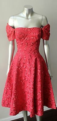 Mod Gogo Vintage 50s Tafetta Embroidered Off Shoulder Full Circle Swing Dress Xs