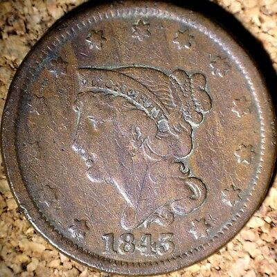 1843 Braided Hair Large Cent - FINE+ PETITE SMALL LETTERS RAW COIN  (G507)