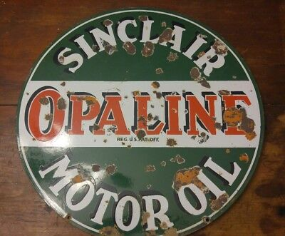 "Original Sinclair Opaline Motor Oil Sign Porcelain Double Sided 24""dia."