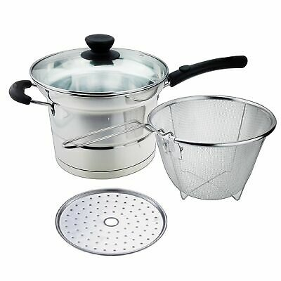 4-Piece Stainless Steel Cookware 3.5 Qt Cooking Pot with Steamer and Glass Lid